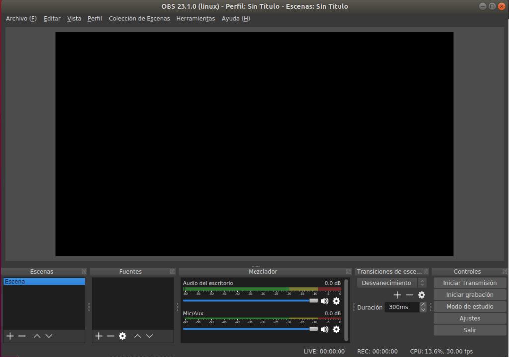 instalar obs studio en ubuntu pantalla inicial