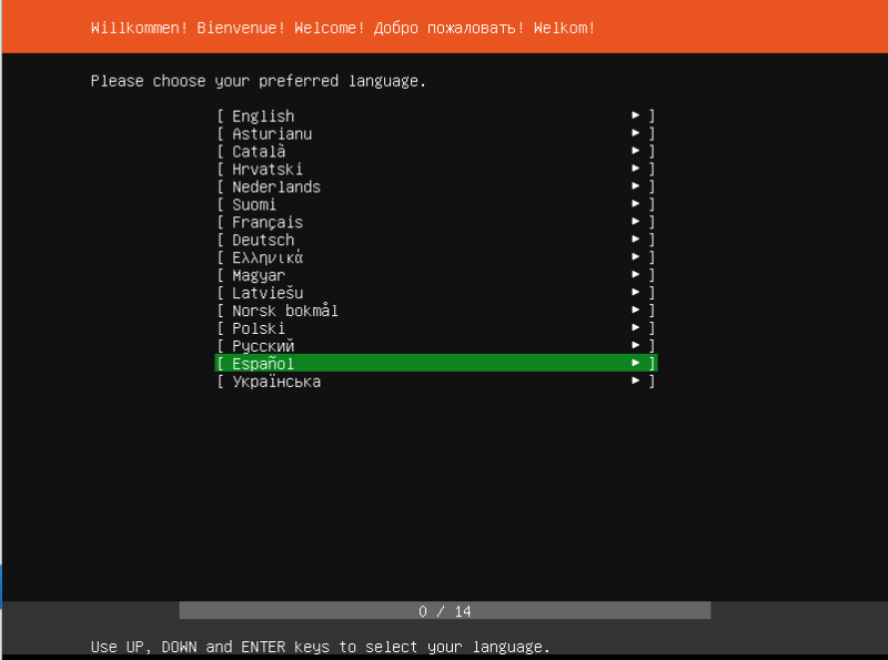 ubuntu server 19.04 instalacion seleccion de idioma