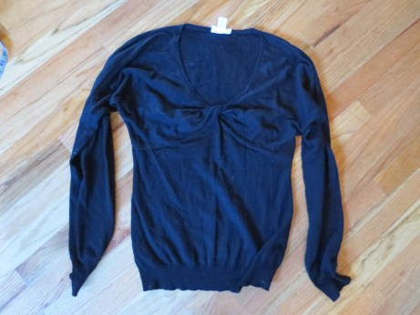 Ann Taylor Loft XS black cardigan, rayon/poly/nylon/rabbit hair.