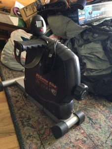 A rather housebound housemate brought this home one day. My heart sank. Just what we need, YET ANOTHER exercycle-ish thing. How about you GO FOR A WALK if you are so concerned about your health. Boulder is gorgeous outside. Really. DONATE. Now I need to get the bigger one out of the bedroom.