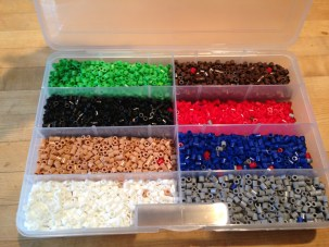 $10 for this meticulously organized set of Perler beads. This is how my creative process begins and I try to force that on my boys, but it's not how they work. They couldn't care less if the beads are separated by color.