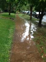 Flooded sidewalk.