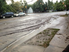 Mud slicked streets.