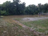 The football field at the local high school.