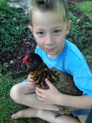 With birthday chicken
