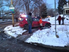 Car, totaled. My neighbor's lawn, trashed.