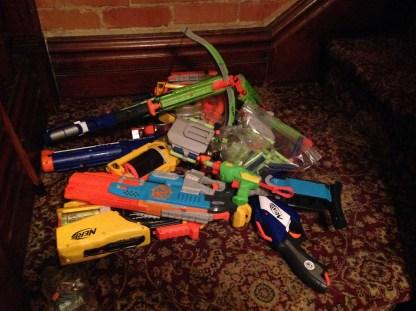 Disturbing pile of weapons