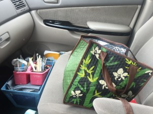 My lunch and pottery supplies were my co-pilot