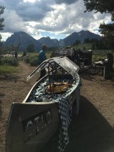 The salad bar is in the canoe!