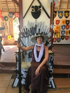 That's me on the throne of wooden swords