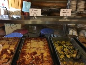 Lasagne, roasted veggies and salad