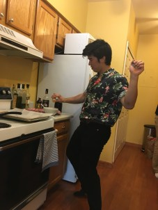 Son In Law cooking and dancing to jazz