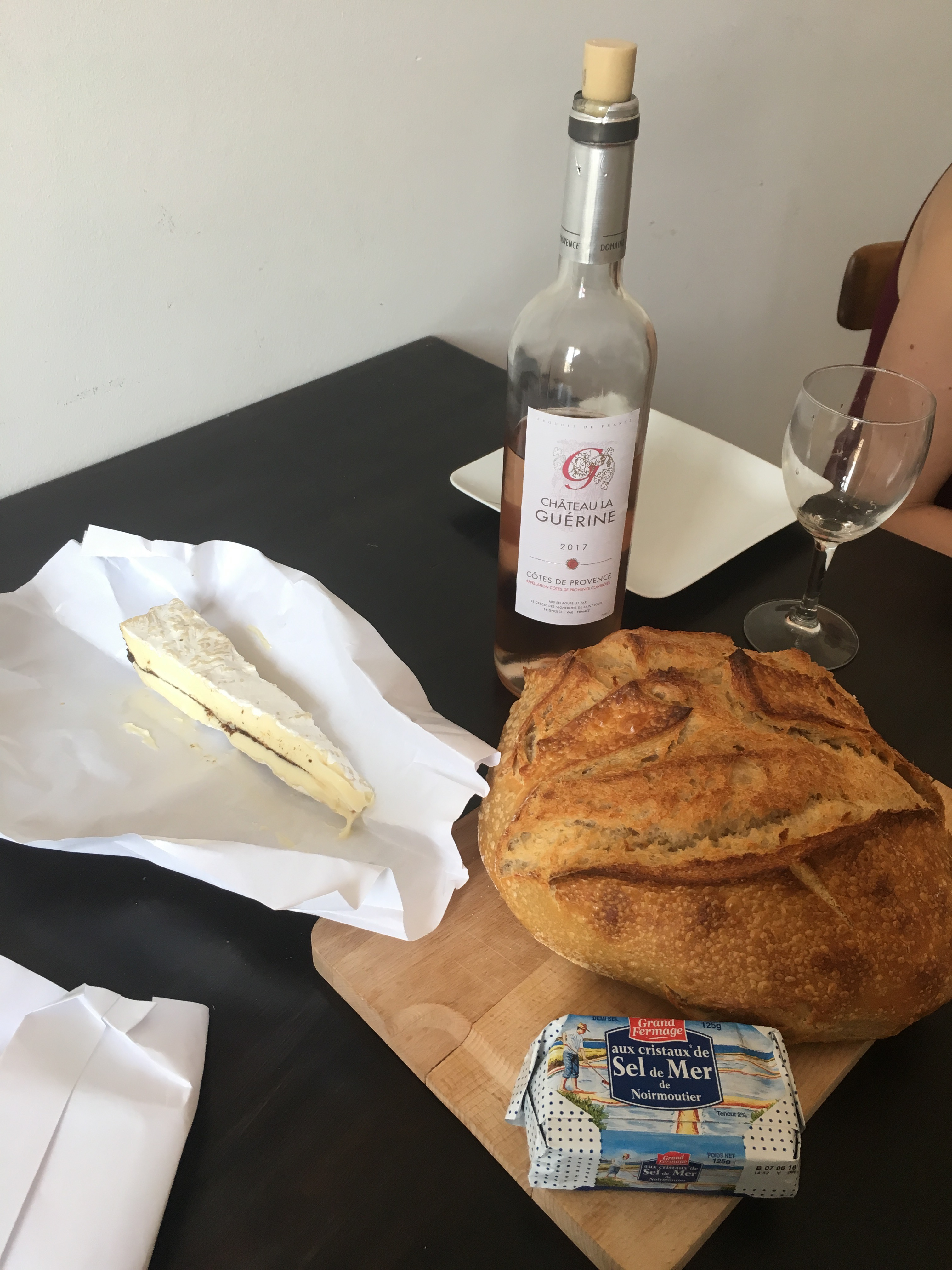 Bread, cheese, butter and wine. Food groups covered.