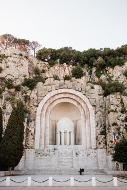 A war monument built into the side of the mountain