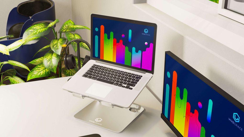 vivegrace laptopstandaard met laptop erop