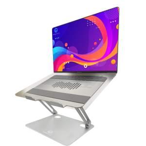 vivegrace laptopstandaard met laptop erop zilver