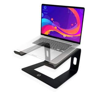 Vivegrace laptopstandaard met laptop erop kleur zwart
