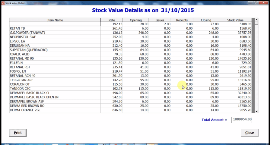 Stock value report
