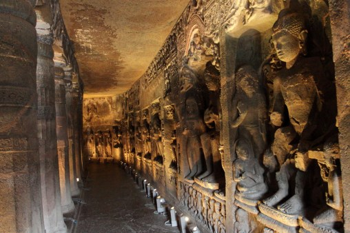 Ajanta also has some magnificent sculptures as in Cave 26