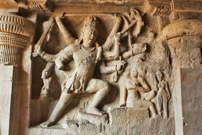 Dhumar Lena cave - Lord Shiv with eight arms in a powerful, furious and destructive dance
