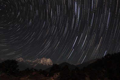 Star trails over Chaukhamba (height 7138 mts) at Deoriatal, Uttarakhand