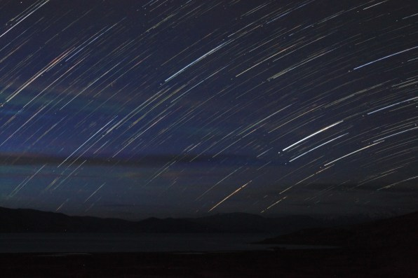 Pre-dawn star trails over Tso Moriri