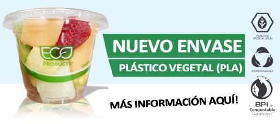 Nuevo envase, plástico vegetal, vasito de fruta variada