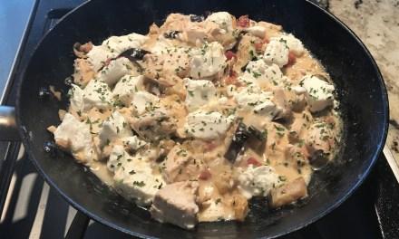 Poulet crémeux au chèvre et aubergine keto cétogène