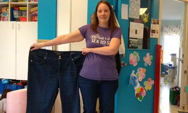 87 lb en moins ! Mon tour de hanche est passé de 55″ à 42″ !
