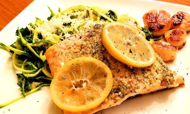 Pavé de saumon et pétoncles