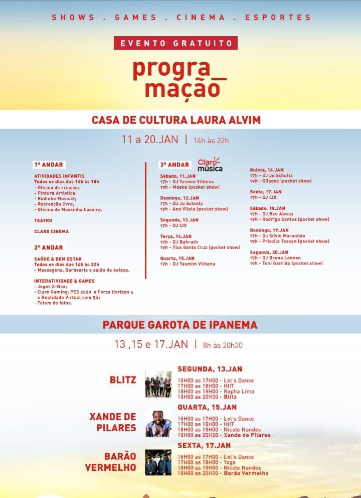 Verão Claro Rio traz programação gratuita. Confira!