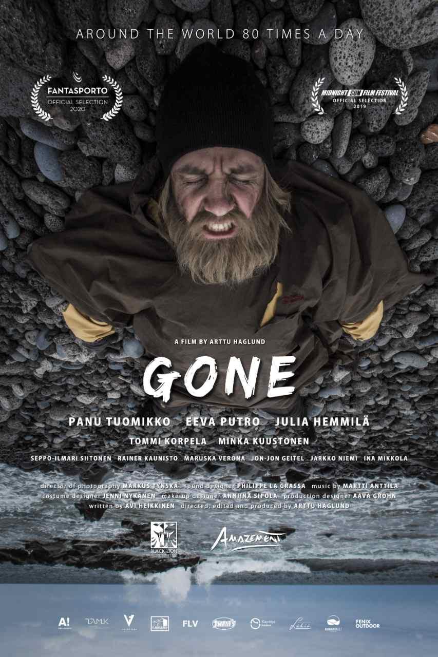 Poster de Gone, filme finlandês sobre um mochileiro. Veja no Vivente Andante.