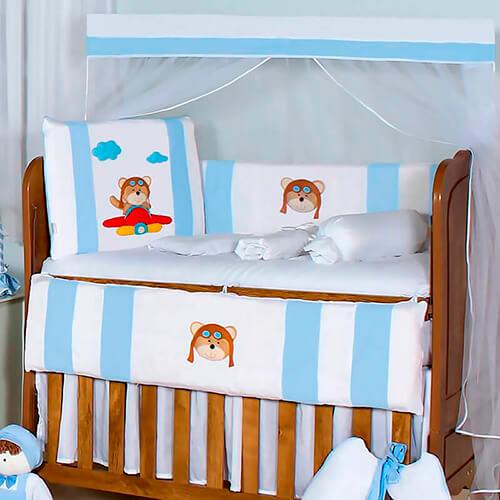 Kit Berço 11 Peças Urso Aviador Azul Bebê