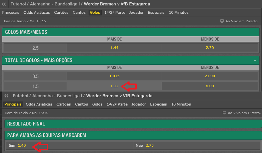02_05 - Werder Bremen x VfB Stuttgart - Bet365