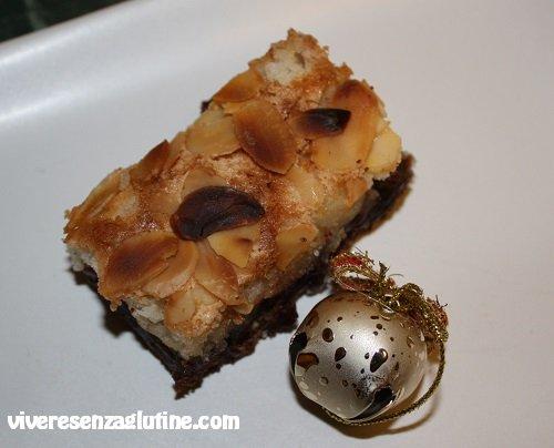 Gluten-free chocolate bars with almond and cherry jam