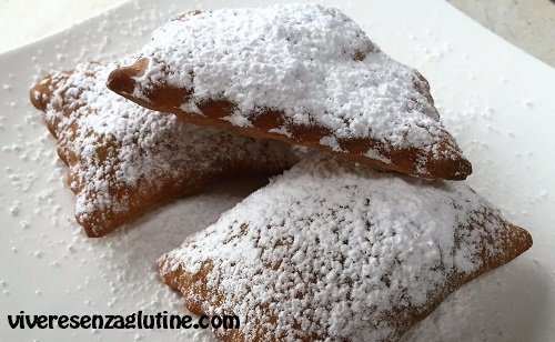 Gluten-free Carnival chiacchiere with Nutella filling