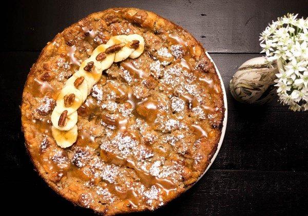 Gluten-free Bananas Foster Bread Pudding Cake