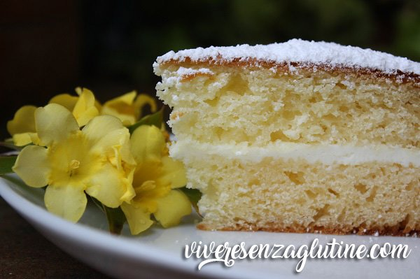 Yogurt cake gluten free with cheese cream filling