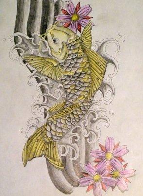 diseño tatuaje pez koi