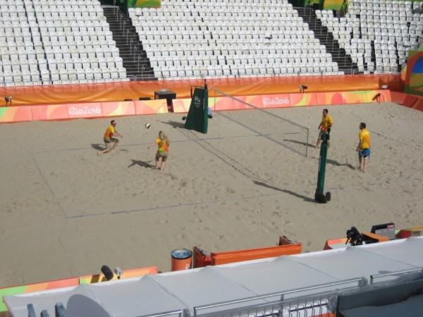 volunteers playing beach volley