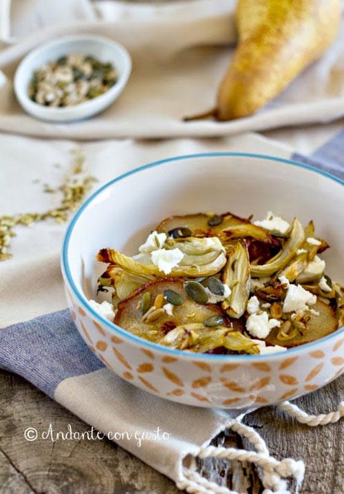 Insalata tiepida di finocchi, pere e feta – la ricetta veggie
