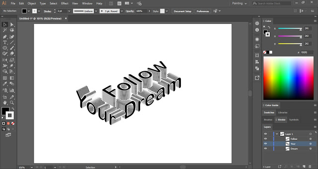 3D Isometric Text Effect