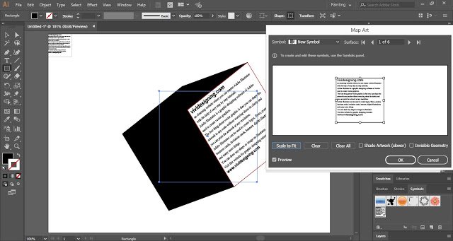 Place the text symbol on 3D shape