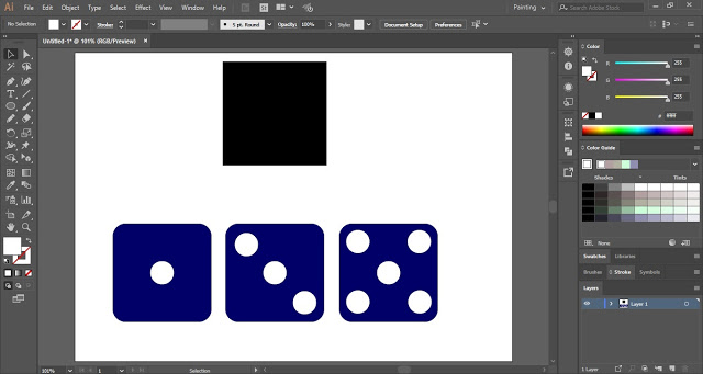 Rounded Corners of three sides of the dice