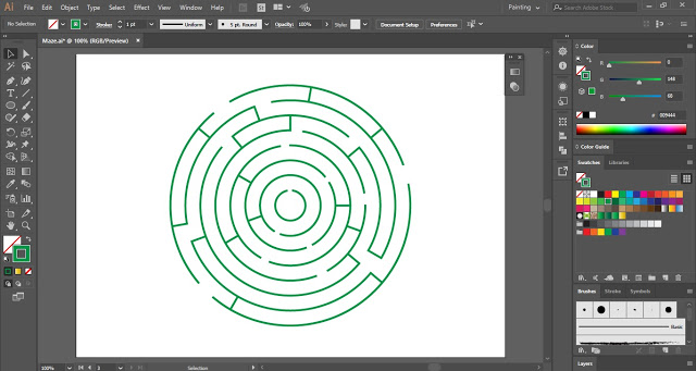 3D Circular Maze in Adobe Illustrator