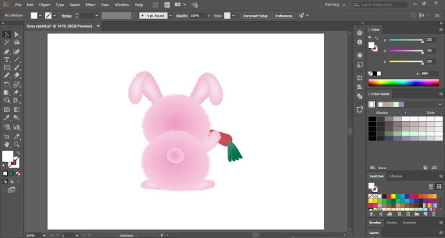 Furry Rabbit in Adobe Illustrator