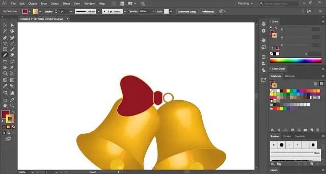 Christmas Bells Icon in Adobe Illustrator