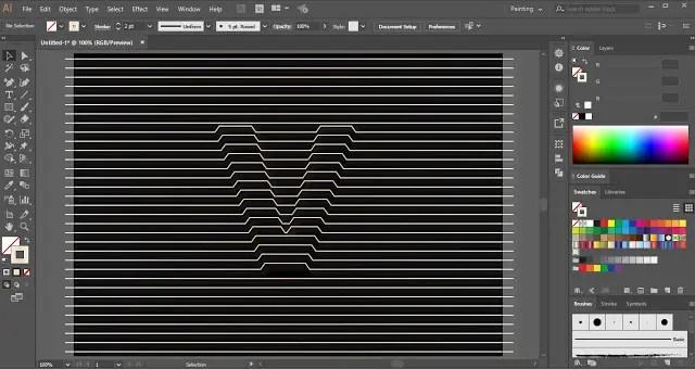 Line Distort Text Effect in Adobe illustrator