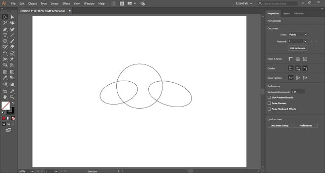 draw shapes with the help of ellipse Tool