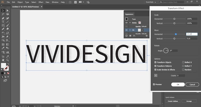 Hatched Drop Shadow Text Effect in Adobe Illustrator
